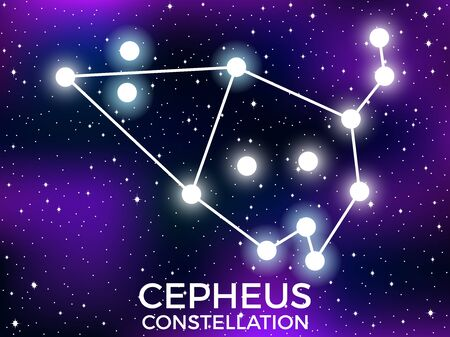 Cepheus constellation. Starry night sky. Zodiac sign. Cluster of stars and galaxies. Deep space. Vector illustration