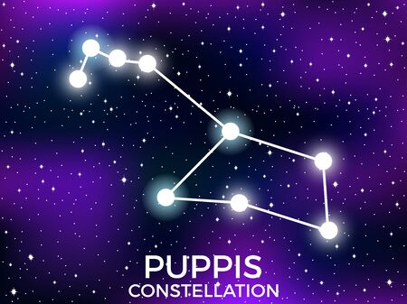 Puppis constellation. Starry night sky. Cluster of stars and galaxies. Deep space. Vector illustration