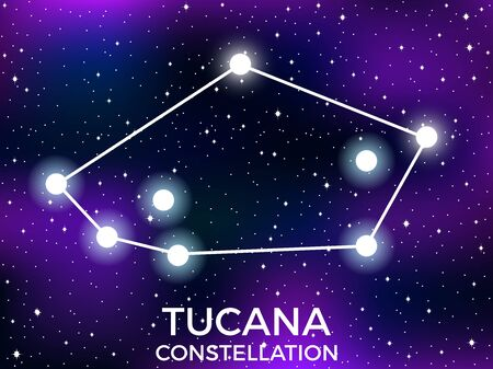 Tucana constellation. Starry night sky. Zodiac sign. Cluster of stars and galaxies. Deep space. Vector illustration