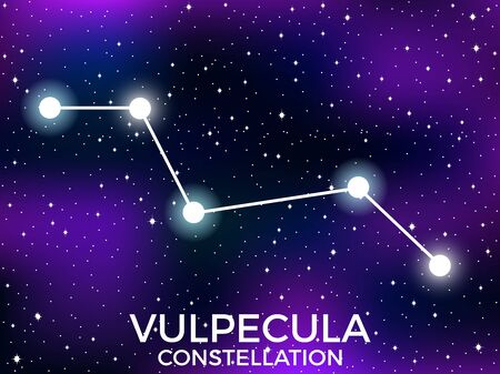 Vulpecula constellation. Starry night sky. Cluster of stars and galaxies. Deep space. Vector illustration  イラスト・ベクター素材