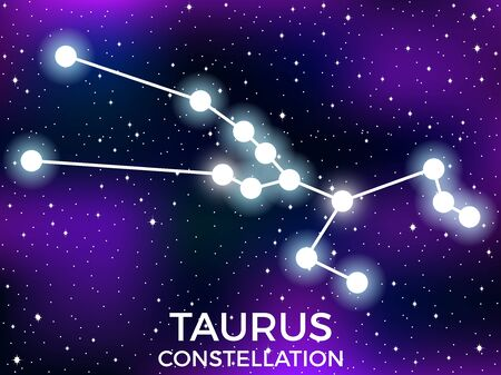 Taurus constellation. Starry night sky. Cluster of stars and galaxies. Deep space. Vector illustration  イラスト・ベクター素材