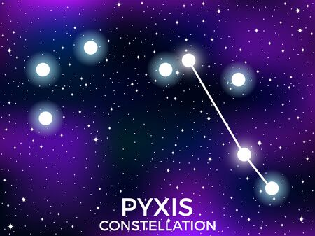 Pyxis constellation. Starry night sky. Cluster of stars and galaxies. Deep space. Vector illustration