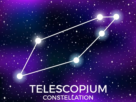 Telescopium constellation. Starry night sky. Cluster of stars and galaxies. Deep space. Vector illustration