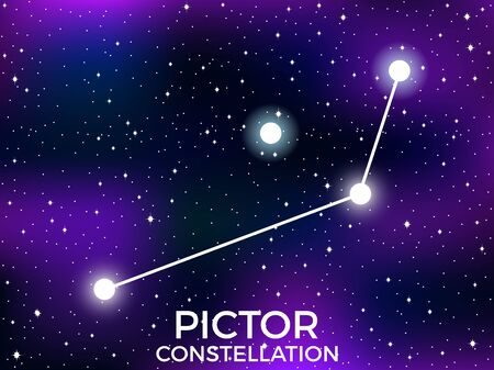 Pictor constellation. Starry night sky. Cluster of stars and galaxies. Deep space. Vector illustration