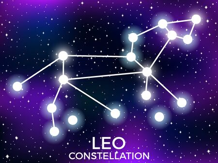 Leo constellation. Starry night sky. Cluster of stars and galaxies. Deep space. Vector illustration  イラスト・ベクター素材