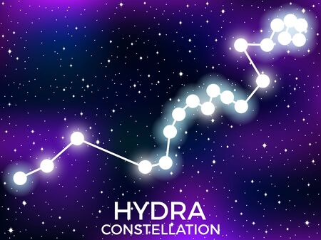 Hydra constellation. Starry night sky. Cluster of stars and galaxies. Deep space. Vector illustration