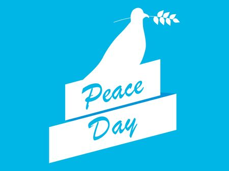 Peace day. White dove with olive branch on a blue background in a flat style. Vector illustration