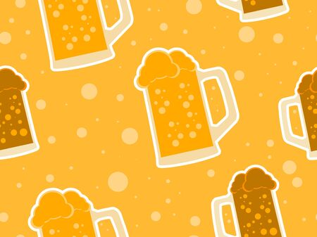 Glass of beer seamless pattern for promotional products, wrapping paper and printing. Vector illustration