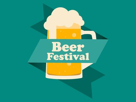 Beer Festival. Glass of beer with ribbon on a green background. Vector illustration