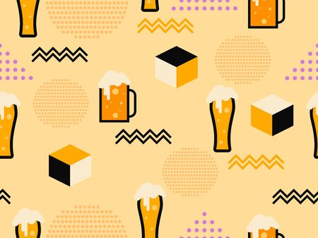 Glass of beer seamless pattern in 80s memphis style. Alcohol party. Vector illustration