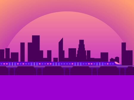 City view sunset. Cityscape with skyscrapers and train. Cyberpunk and retro futurism. Vector illustration