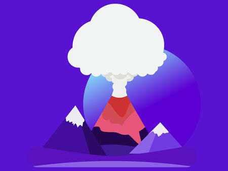 Volcano eruption flat style. Highlands on the background of meadows, night landscape. Vector illustration