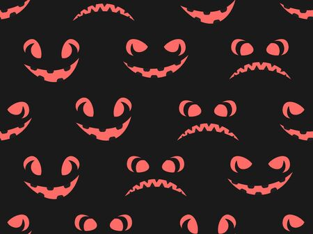 Scary face seamless pattern. Jack-o-lantern. Halloween background for greeting card. Vector illustration