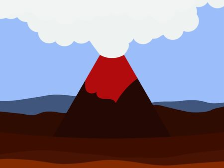 Volcano eruption flat style, landscape. Disaster. Lava breaking out of the mountain. Vector illustration