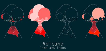Volcano line art icons on black background. Flat style. Vector illustration