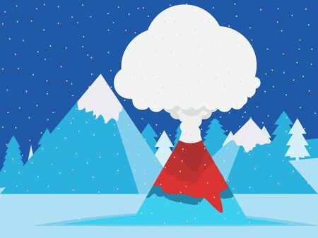 Volcano eruption winter mountain landscape with snowy peaks. Design in a flat style. Vector illustration