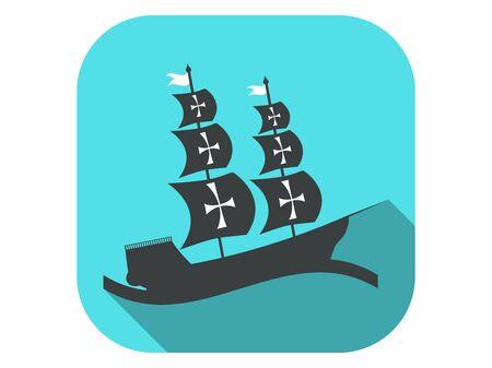 Sailing ship flat icon with long shadow. Columbus Day. Vector illustration