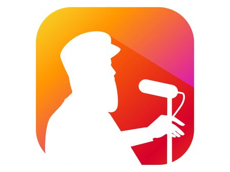 Man speaks into the microphone from the podium, flat style icon with long shadow. Gradient background. Vector illustration