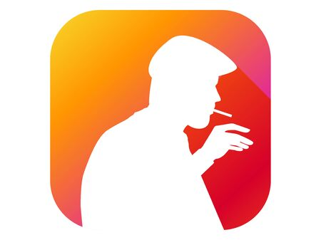 Man smokes flat icon with long shadow. Silhouette of a man with a cigarette. Gradient background. Vector illustration