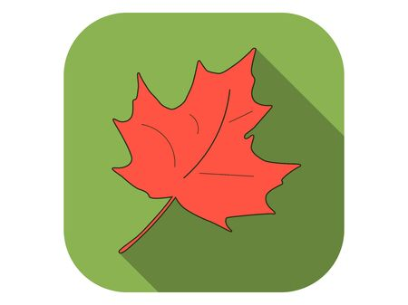 Maple leaf flat icon with long shadow. Autumn leaf. Vector illustration Çizim