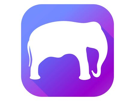 Elephant flat icon with long shadow. Contour of an elephant on a gradient background. Vector illustration Иллюстрация
