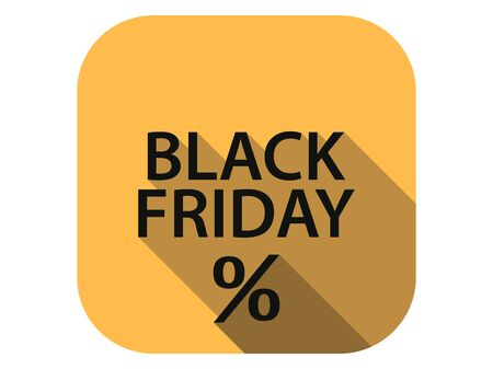 Black friday flat icon with long shadow. Sale, percent discount. Vector illustration