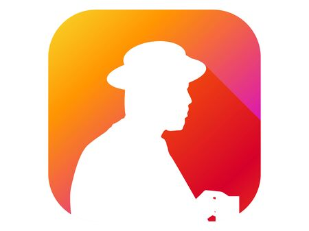 Man in a hat with a glass flat icon with long shadow. Gradient background. Vector illustration