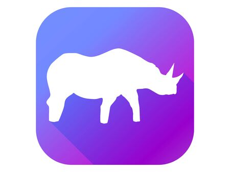 Rhinoceros silhouette in flat style with long shadow on a gradient background. Vector illustration
