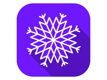 Snowflake flat icon with long shadow. Symbol of cold and winter. Vector illustration Ilustracja