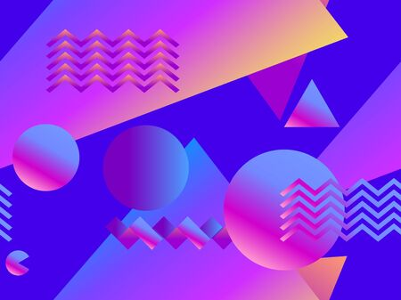 Geometric seamless pattern with gradient shapes in memphis style. Style of 80's. Synthwave, futurism background. Retrowave. Vector illustration