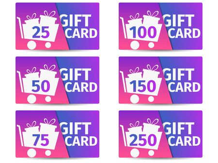 Gift card set. Trolley with gift boxes. Shopping cart. The cards cost in 25, 50, 75 100, 150, 250. Vector illustration