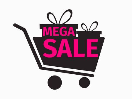 Black friday mega sale banner with shopping cart and gift boxes. Vecton illustration