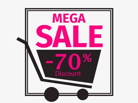 Black friday mega sale, banner design template 70 percent discount. Shopping trolley icon. Vector illustration