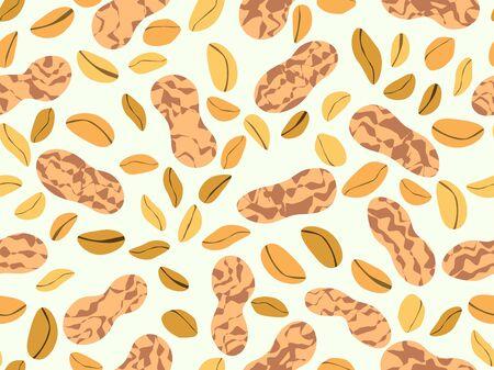 Modèle sans couture d'arachide. Cacahuètes grillées en coque. Conception d'arrière-plan pour l'impression sur des emballages, des emballages, des tissus et des papiers peints. Illustration vectorielle