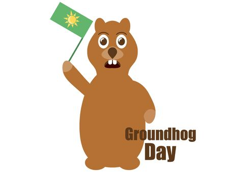 Groundhog Day. Predicts the arrival of spring. Festive banner groundhog with a flag isolated on white background. Vector illustration
