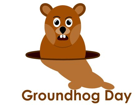 Groundhog Day. Predicts the arrival of spring. Groundhog with shadow. Vector illustration