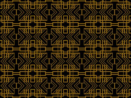 Art deco seamless pattern. Linear geometric art of the 20s in retro style. Gold and black color. Vector illustration