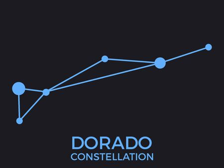 Dorado constellation. Stars in the night sky. Cluster of stars and galaxies. Constellation of blue on a black background. Vector illustration Illustration