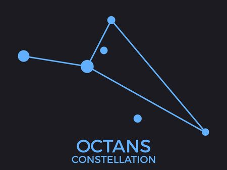Octans constellation. Stars in the night sky. Cluster of stars and galaxies. Constellation of blue on a black background. Vector illustration