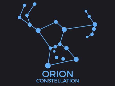 Orion constellation. Stars in the night sky. Cluster of stars and galaxies. Constellation of blue on a black background. Vector illustration Vettoriali