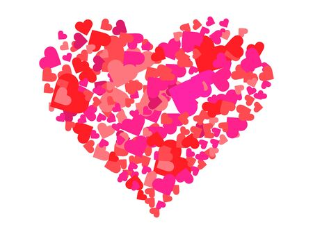 Heart made of hearts. Happy Valentine's day, 14th of February. Background for greeting card, wrapping paper, promotional materials. Vector illustration