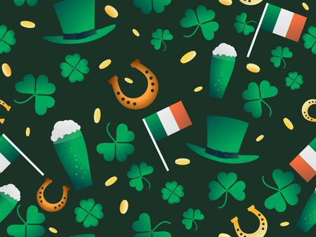 Seamless pattern for St. Patrick's Day. Clover leaves and gold coins. Leprechaun hat, a glass of beer and a horseshoe are a symbol of good luck. Vector illustration Vector Illustration