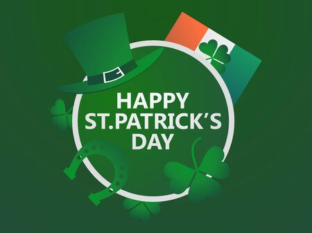 Happy St. Patricks Day. Festive design with clover and horseshoe leaves. Irish flag. Background for greeting card, wrapping paper, promotional materials. Vector illustration