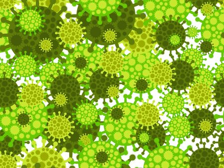 Virus seamless pattern. Coronavirus 2019-nCoV, middle east respiratory syndrome. Chinese virus.