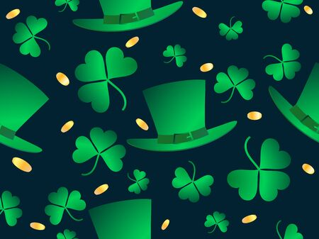 Seamless pattern for St. Patricks Day. Clover leaves, gold coins and Leprechaun hat. Vector illustration