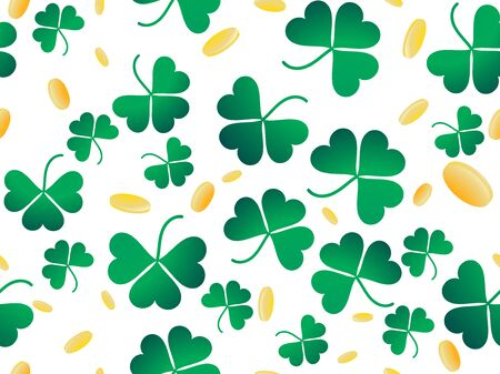 Clover leaves and golden coins seamless pattern. St. Patricks Day, Irish holiday. Background for greeting card, wrapping paper, promotional materials. Vector illustration 向量圖像