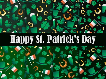 St. Patrick's Day set of seamless patterns. Clover leaves and gold coins. Leprechaun hat, a glass of beer and a horseshoe are a symbol of good luck. Vector illustration