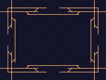Art deco frame. Vintage linear border. Design a template for invitations, leaflets and greeting cards. The style of the 1920s and 1930s. Vector illustration