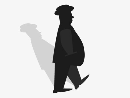 The contour of a walking man. Fat man in a suit and hat with a shadow. Businessman. Vector illustration