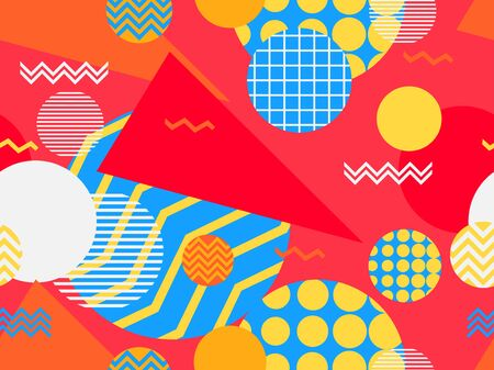 Memphis seamless pattern with geometric shapes in the style of the 80s. Eighties print colorful background for promotional products, wrapping paper and printing. Vector illustration